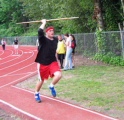 An athlete throwing the javelin.