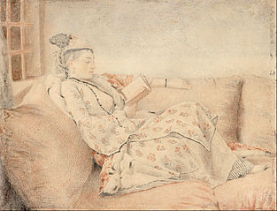 Lady in Turkish dress, reading