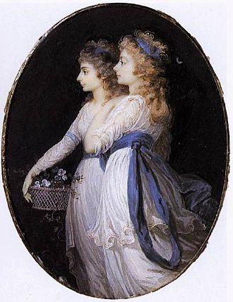 Elizabeth Cavendish, Duchess of Devonshire - Lady Elizabeth with Georgiana, Duchess of Devonshire, by Guérin, ca. 1791