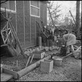 Jerome Relocation Center, Denson, Arkansas. Mrs. T. Arima busily prepares her doorstep garden in Bl . . . - NARA - 538835.tif