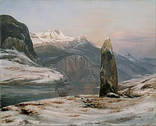 <i>Winter at the Sognefjord</i> painting by Johan Christian Clausen Dahl