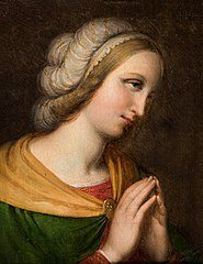 Head and shoulders portrait of a praying woman. Copy of a painting by Perugino