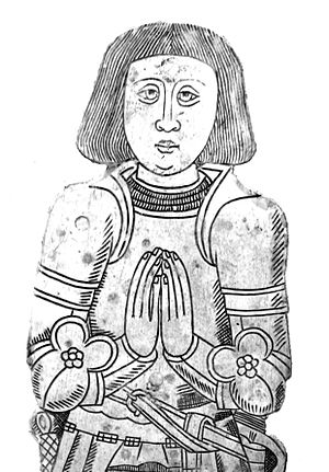John Basset (1462–1528) - Monumental brass of Sir John Basset (died 1528) of Umberleigh. On his chest-tomb between brasses of his two wives in St Mary's Church, Atherington, Devon, moved in 1818 from the nearby Holy Trinity Chapel, Umberleigh (now demolished) next to Umberleigh House