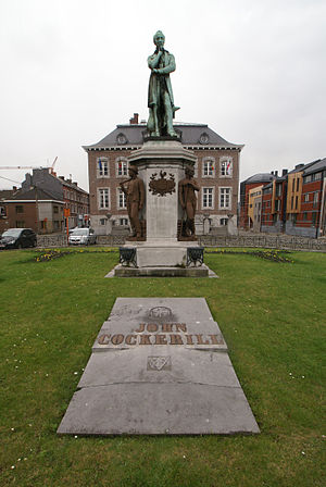 John Cockerill (industrialist) - Statue and tomb stone of John Cockerill in front of the town hall of Seraing