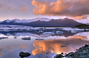 Jökulsárlón, a glacial lake in Iceland. To the...