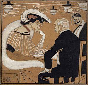 Juan Gris - El 1 de mayo en el Kursall. Illustration published in the magazine ¡Alegría!, Madrid 1907