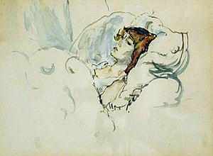 Jules Pascin - Hermine in Bed, watercolor