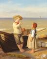 Julius Friedlænder - Fiskerbørn med en oldenborre - 1854.png
