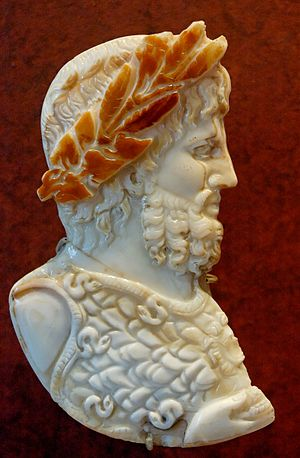 Jupiter (mythology) - Jupiter's head crowned with laurel and ivy. Sardonyx cameo (Louvre)