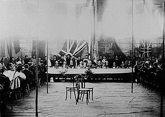 Kowloon–Canton Railway - Chinese and British officials celebrate the laying of the foundation stone for the Chinese Section at the Canton Terminus in 1909