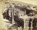 Kailas fr. hill N.W. corner View of Hindu rock-cut temple, Cave XVI Kailasanatha, from the north-west corner, Ellora., a photo by Henry Cousens, 1870's.jpg