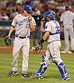 Kansas City Royals starting pitcher Danny Duffy (23) and catcher Brayan Pena (27) (5756979539).jpg