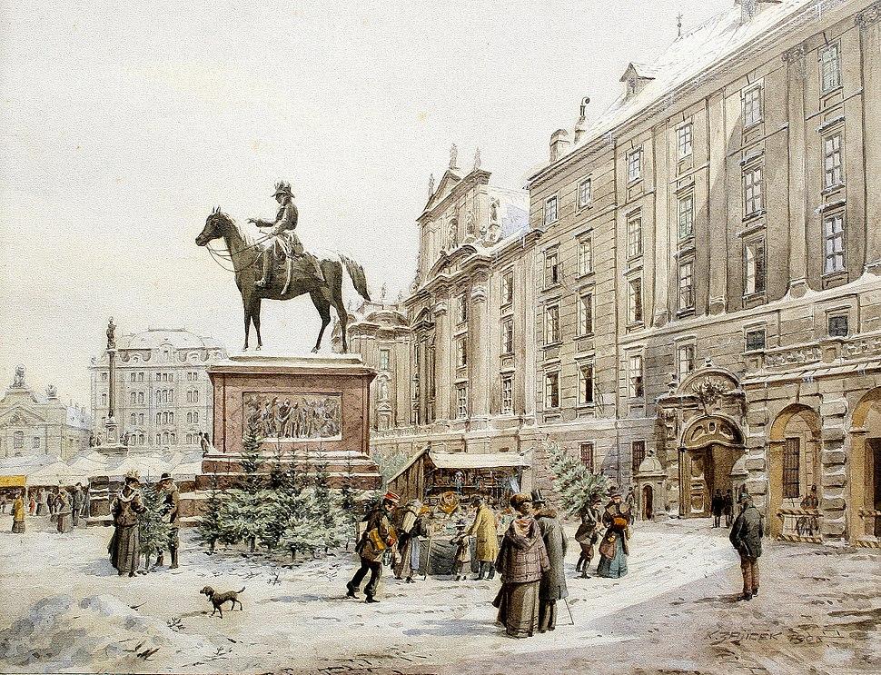Karl Wenzel Zajicek A Christmas market in Am Hof Vienna 1908