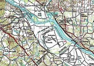 Kaskaskia, Illinois - USGS topographic map of Kaskaskia