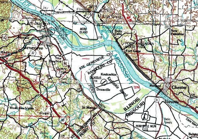 Kaskaskia IL and vicinity USGS topo map