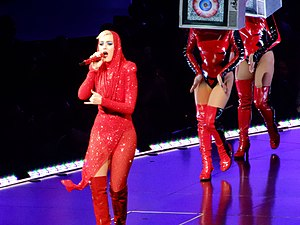 "Chained to the Rhythm - Perry performing ""Chained to the Rhythm"" during Witness: The Tour in Madison Square Garden"