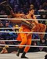 Kavita Devi wrestling Becky Lynch at WrestleMania 34.jpg