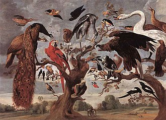 Mockery - The Mockery of the Owl a seventeenth-century painting by Jan van Kessel the Elder, loosely depicting a scene from the thirteenth-century poem, The Owl and the Nightingale, in which the owl is mocked for its characteristics by other birds.