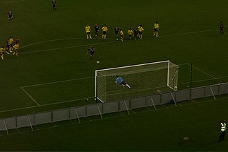Penalty kick (association football) - Kevin Muscat taking a penalty for Melbourne Victory FC in 2008