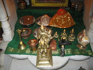 Marathi people - A Marathi household shrine with Khandoba at the forefront