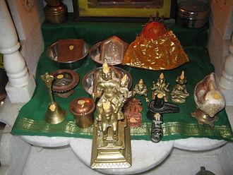 Marathi people - A Marathi household shrine with Khandoba at the forefront