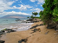 Kihei beach with the West Maui Mountains in the distance