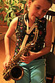 King Zephyr Alto Saxophone (c.1946) sax gal in the house.jpg