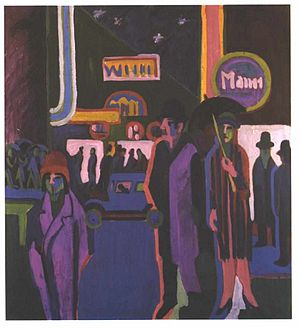1920s Berlin - Street Scene at Night by Ernst Ludwig Kirchner, 1926-7.