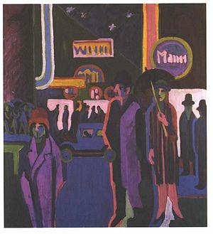 1920s Berlin - Street Scene at Night by Ernst Ludwig Kirchner, 1926-7.