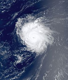 Satellite imagery of a well-defined hurricane with an eye feature visible