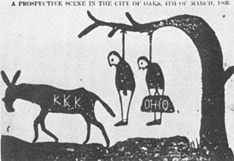 Ku Klux Klan - A cartoon threatening that the KKK will lynch scalawags (left) and carpetbaggers (right) on March 4, 1869, the day President Grant takes office. Tuscaloosa, Alabama, Independent Monitor, September 1, 1868. A full-scale scholarly history analyzes the cartoonː Guy W. Hubbs, Searching for Freedom after the Civil War: Klansman, Carpetbagger, Scalawag, and Freedman (2015).