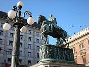 The statue of Prince Mihailo on Republic Square.