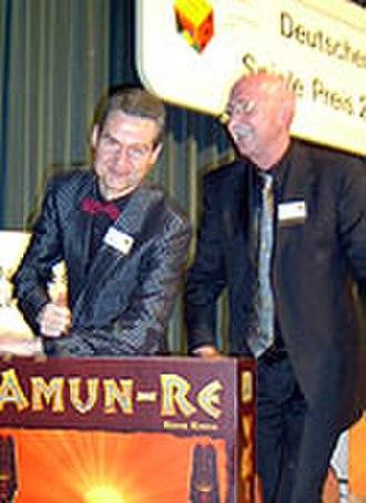 Eurogame - Reiner Knizia and Bernd Brunnhofer at the Deutscher Spiele Preis awards at Spiel 2003 in Essen, Germany