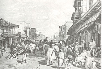 Sutanuti - Simpson, William, India Ancient and Modern, published in 1867, view of Chitpore Road that cuts across Sutanuti from south to north.