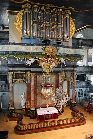 Churches in Norway - Pulpit-Altar and organ, Kongsberg Church.