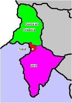 Map of the Austrian Littoral, comprising the Imperial Free City of Trieste (red), the Margravate of Istria (purple), and the Princely County of Gorizia and Gradisca (green)