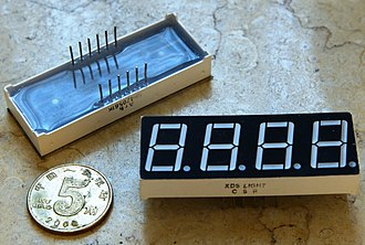 Seven-segment display - A multiplexed 4-digit, seven-segment display with only 12 pins
