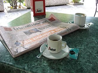 La Gazzetta dello Sport - A coffee and a Gazzetta newspaper.