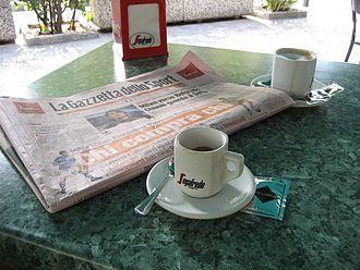 La Gazzetta dello Sport - A coffee and a Gazzetta newspaper.