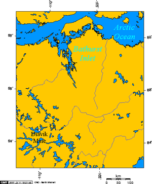 Lambert Projection showing the Diavik Diamond Mine, near Barthurst Inlet, Nunavut.png