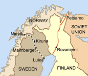 Iron ore is extracted in Kiruna and Malmberget, and brought by rail to the harbours of Luleå and Narvik.(Borders as of 1920–1940.)