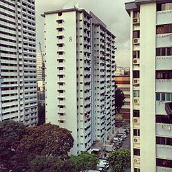 A view of Housing and Development Board (HDB) flats in Lavender, seen from Block 805, King George's Avenue.