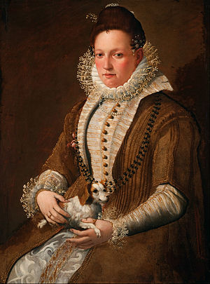 1595 in art - Image: Lavinia Fontana Portrait of a Lady with a Dog Google Art Project