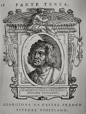 Cristoforo Coriolano - Portrait of Giorgione, engraved by Cristoforo Corionano after Giorgio Vasari, Lives of the Most Excellent Painters, Sculptors, and Architects, 1568