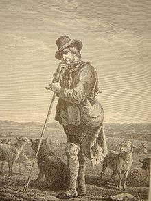 gravure d'un homme appuyé sur son bâton, avec son chien, au milieu d'un troupeau de moutons