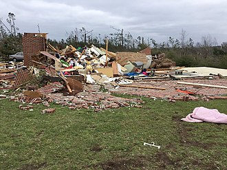 Tornado outbreak of March 3, 2019 - EF4 damage to a well-built brick home in Beauregard, Alabama. This home was anchor-bolted to its foundation.