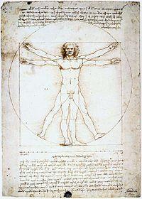 El Hombre de Vitruvio , dibujo de Leonardo da Vinci .