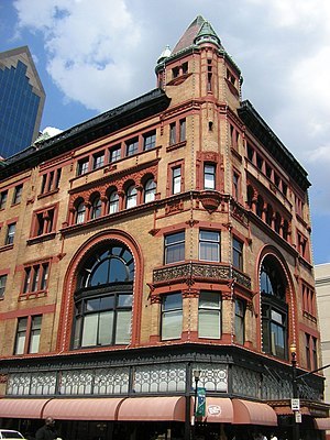 Downtown Louisville - The Richardsonian Romanesque Levy Building, built in 1893, is an example of Downtown Louisville's classic architecture, as well as its revitalization; the upper four floors have been converted to 23 loft condominiums.