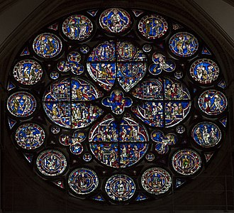 "Plate tracery, Lincoln Cathedral ""Dean's Eye"" rose window (c.1225) Lincoln Cathedral, Deans eye window (38137302184).jpg"