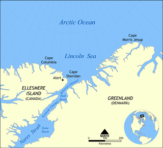 A part of the Arctic Ocean from Cape Columbia, Canada, in the west to Cape Morris Jesup, Greenland, in the east